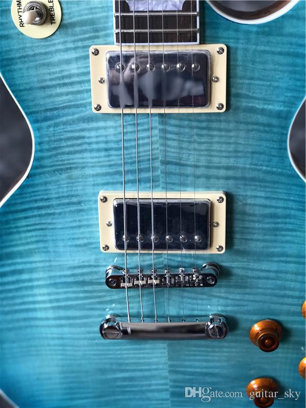 Chegam novas Custom Shop azul CUSTOM Guitarra Elétrica na cor azul com cor de madeira original de volta, rosewood fingerboard, venda quente guitarra