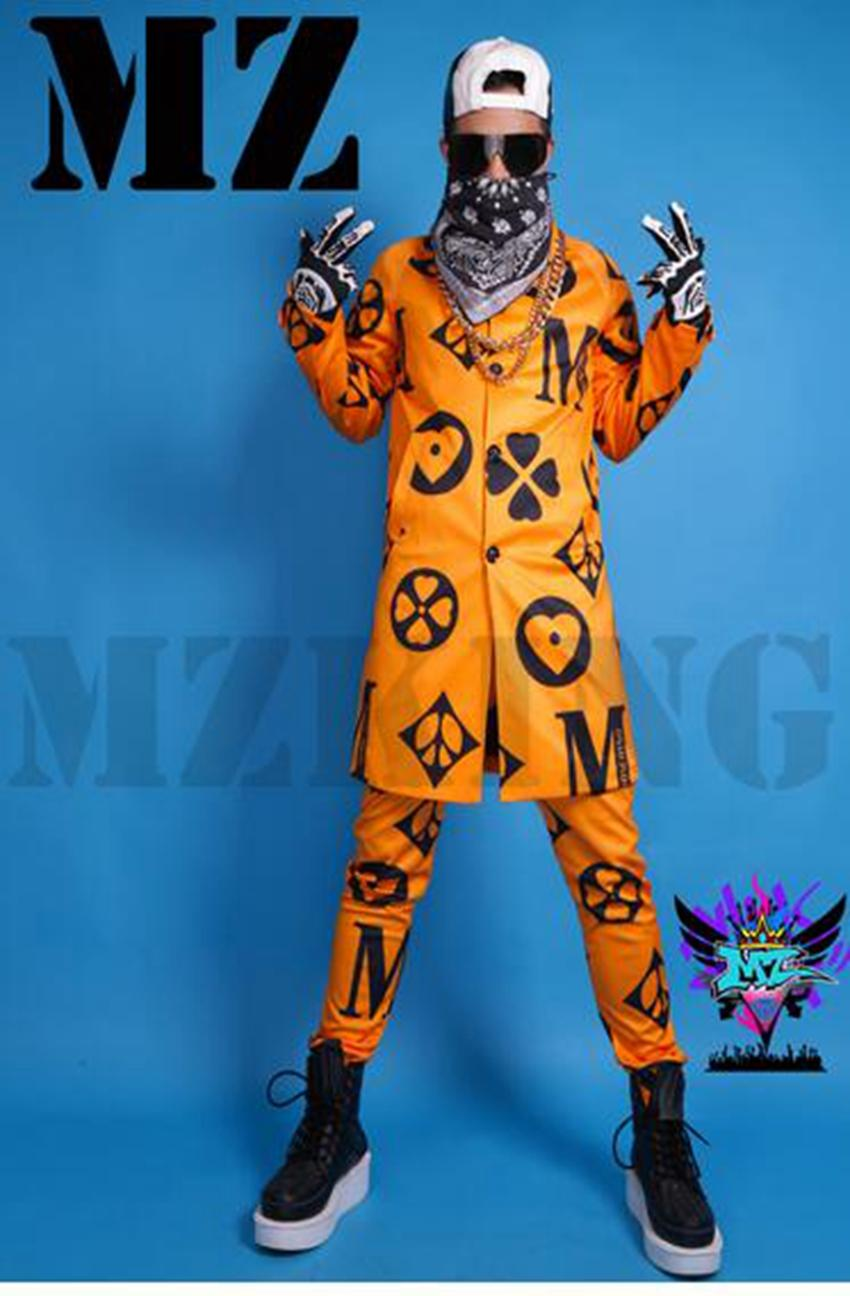Male singer fashionable nightclub in Europe and the runway looks orange printing long windbreaker costumes. S - 6 xl