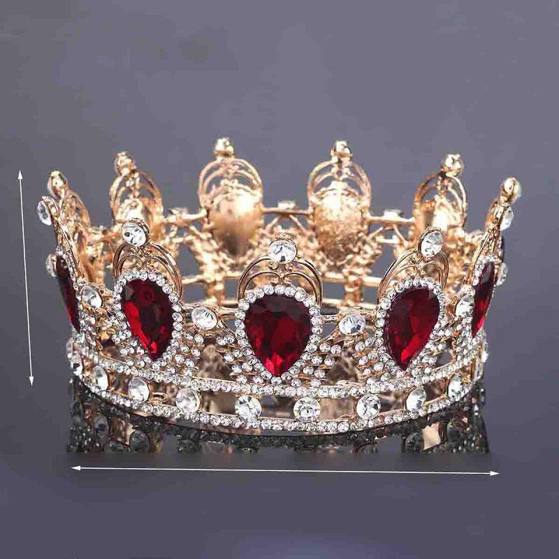 تيجان ملكية  امبراطورية فاخرة King-queen-crown-simulated-red-ruby-stone