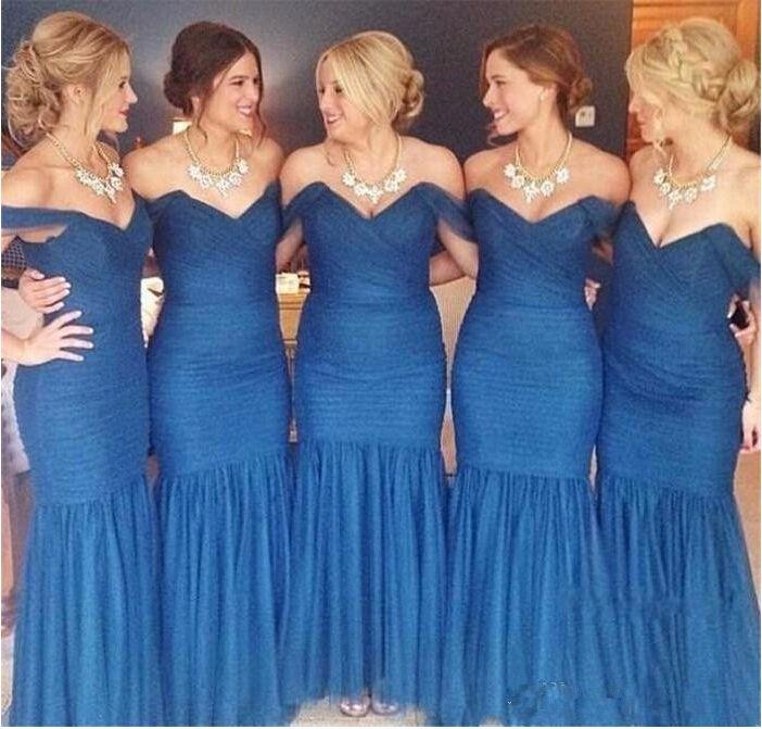 Топ Мода Русалка Платья Невесты Дешевые Сексуальная С Плеча Плиссированные Органза Королевский Синий Платья Подружек Невесты