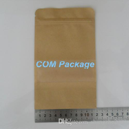 / all'ingrosso 12x20cm liscio Kraft Paper Bag Con liberi opachi Finestra Zipper Food Storage Bag Packaging Stand Up Pouch Doypack