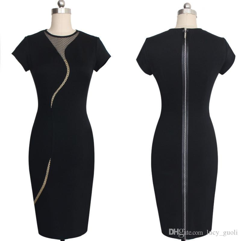 New Arrival Sexy Hollow Out Illusion Slim Fashion Mesh Women Clubwear Full Zipper Back Black Patchwork dress Elegant Slim Pencil Dress