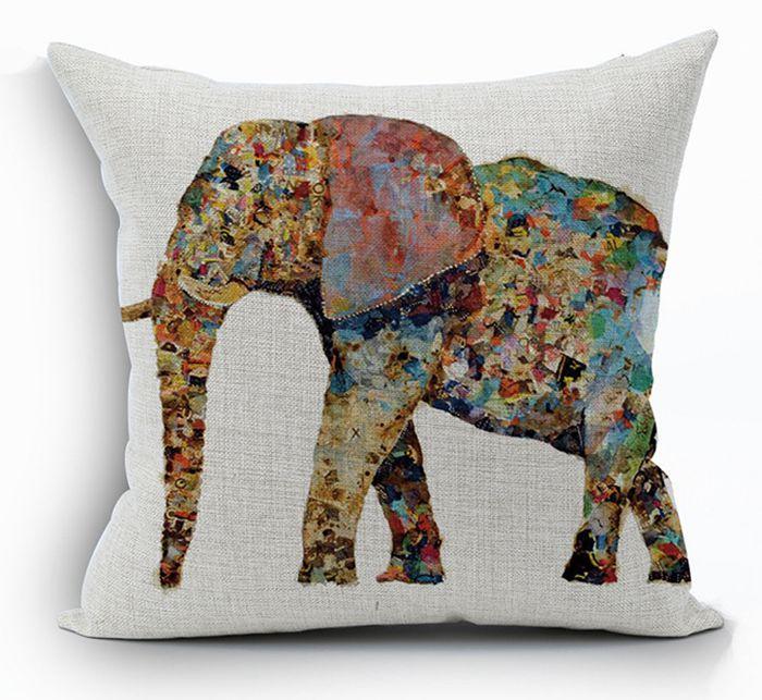 ethnic animal cushion cover cotton linen elephant throw pillow case sofa funda cojin cojines home decor
