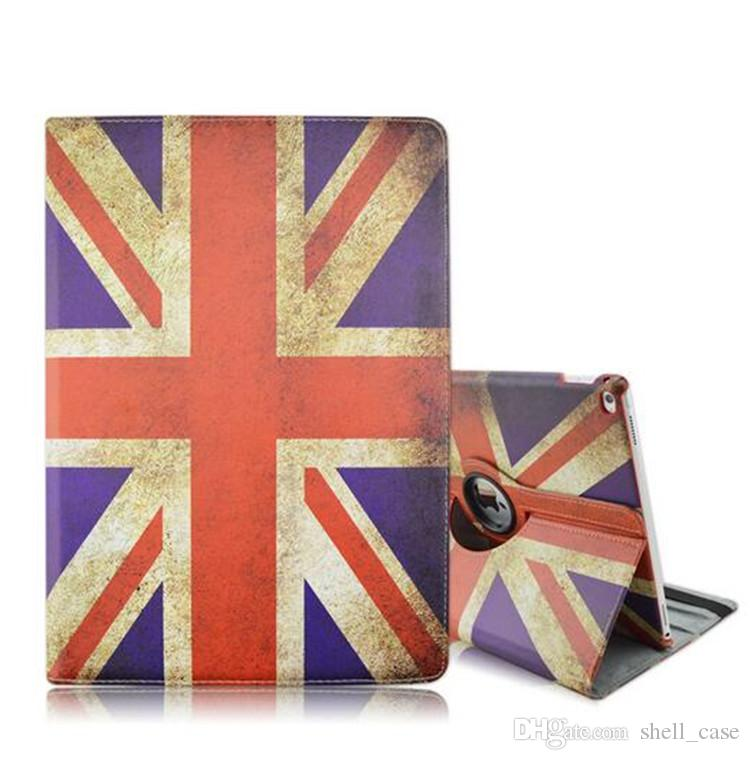 New ipad Pro USA UK National Flag Design Cover for 360 Rotating Cover  National Flag Case PU Leather Folio Stand Cover Skin Shell Christmas