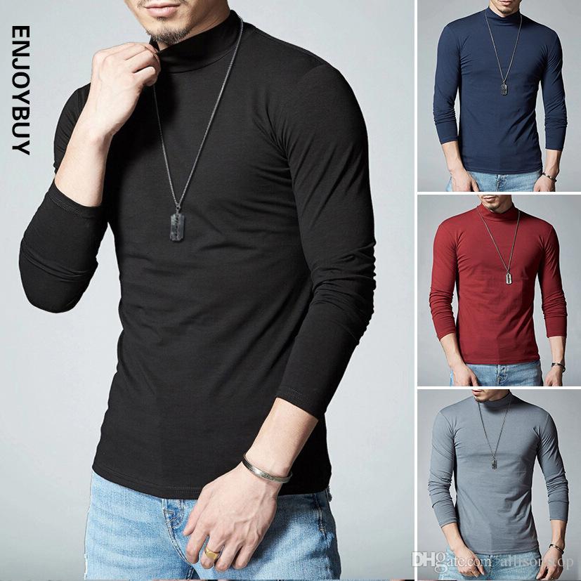 1742d1b08968 New Mens T Shirts Classic Solid Color Soft Cotton Mens Fashion Undershirts  Casual Slim Fit XXXL Autumn Winter Long Sleeved Black Collar Cool  Sweatshirts ...