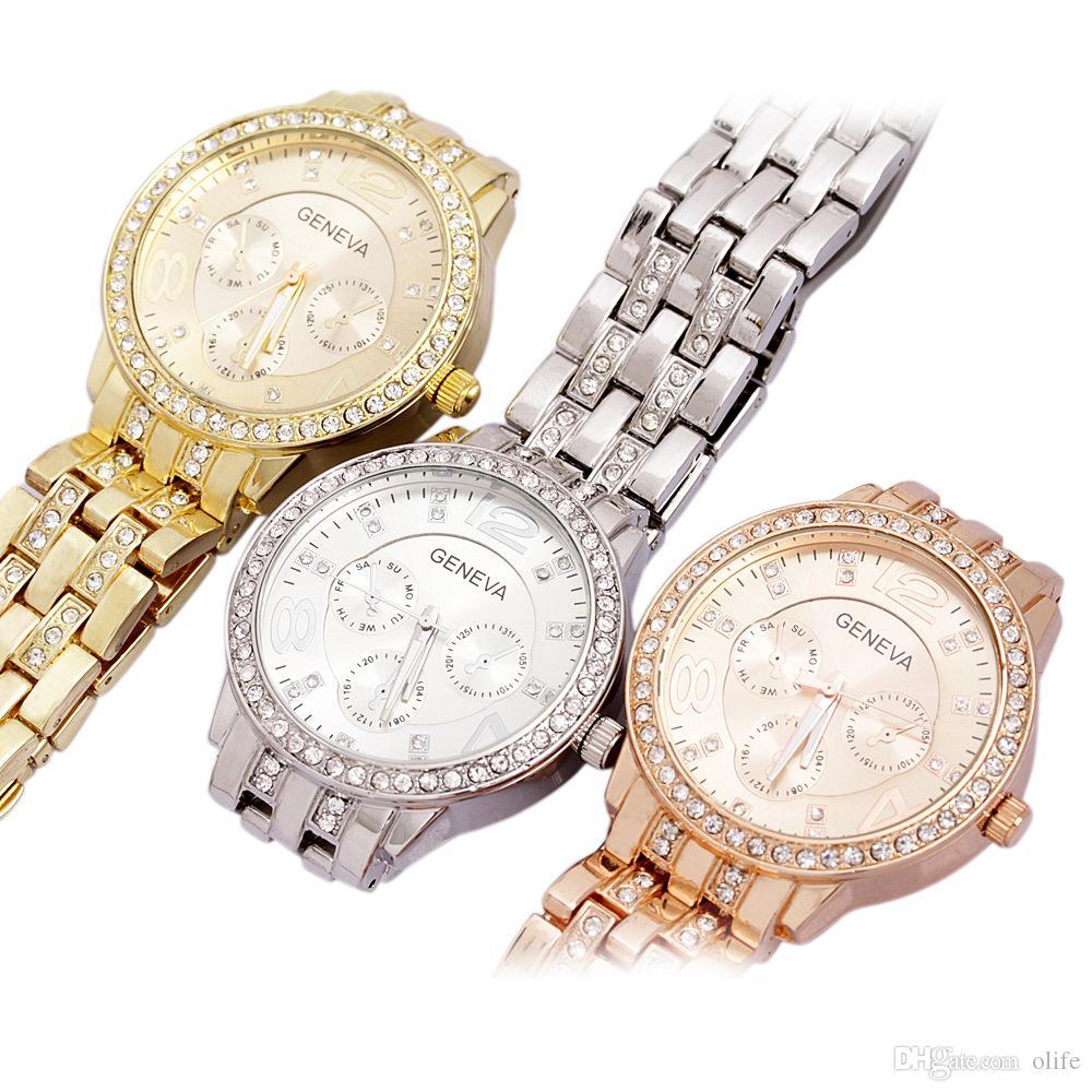 3 ألوان فاخرة الكوارتز الماس الفولاذ المقاوم للصدأ الكريستال البلاتين ووتش للجنسين الرجال النساء مطلي جنيف بلينغ السيدات ساعة المعصم الساعات
