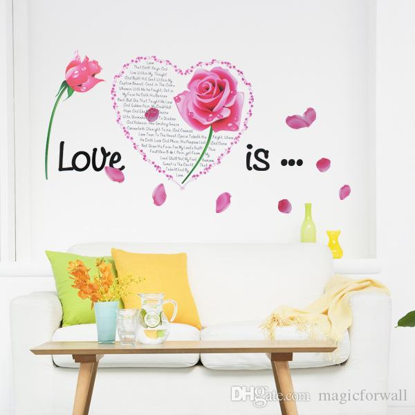 Flowers Love is Wall Quote Decal Sticker Bedroom Headboard Wall Mural Decor Poster DIY Home Decoration Wallpaper Art