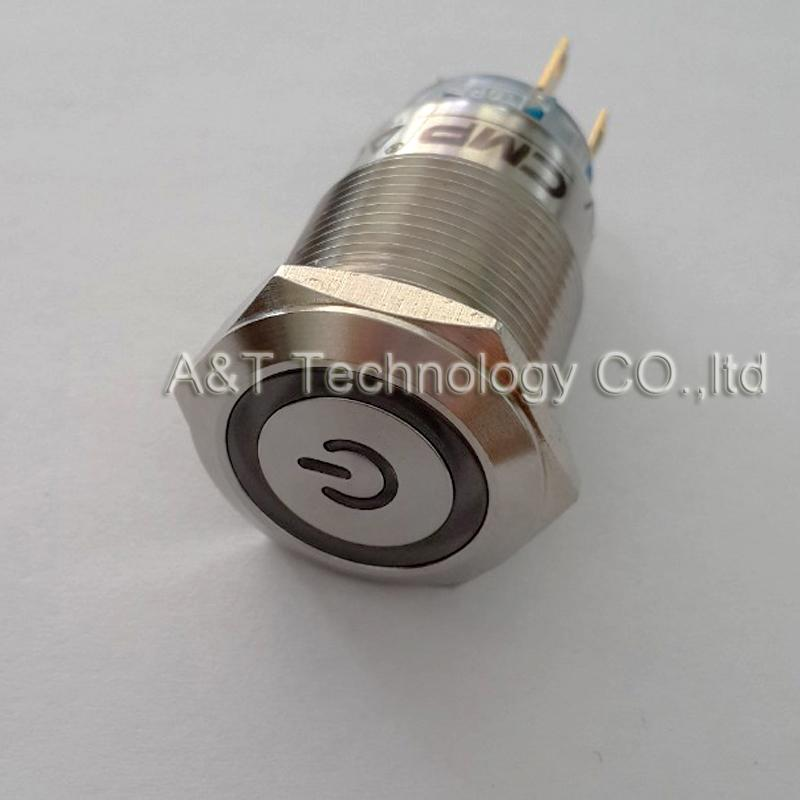 Customization 19mm metal waterproof anti vandal momentary push button switch with 12v 6v 24v ring illuminated and power sign Lacthing on off