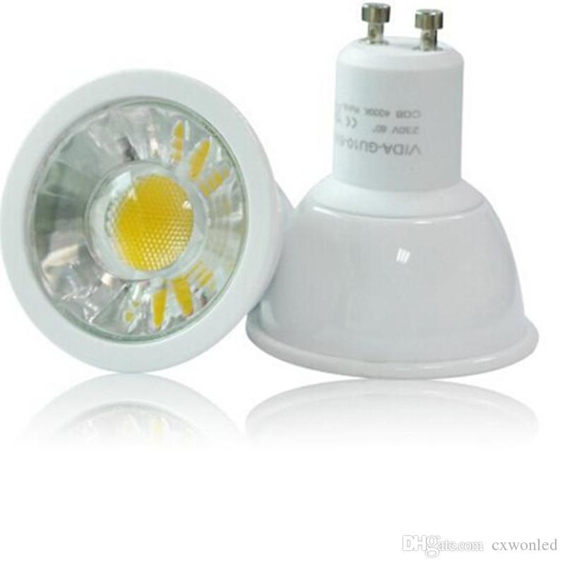 GU10 6W COB LED Spotlights Dimmable AC110-240V plastic Aluminum house Spot Lights Cold/Warm White Lamp LVD UL VDE