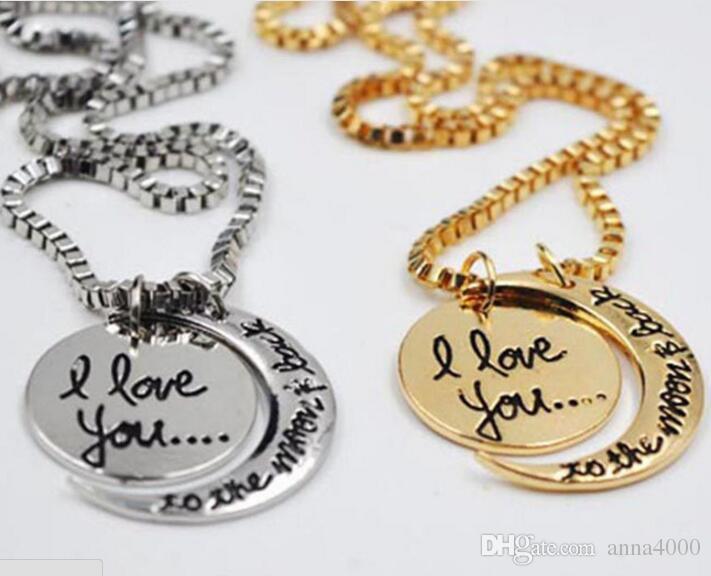 Ti amo al vecchio I Love You al sole e luna amanti sorelle madre moda collana Collana