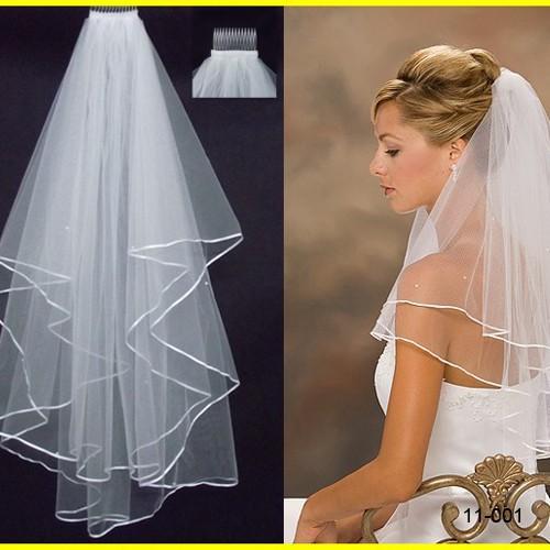 Cheap squisito corto velo da sposa reticolato due strati con pettine con nastri macchia bordo di nozze velo accessori da sposa bianco avorio