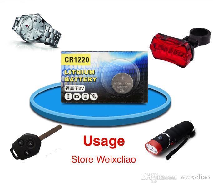 500 stks 1 partij CR1220 3V Lithium Li Ion Button Cell Battery CR 1220 3 Volt Li-ion Coin Batteries Gratis verzending