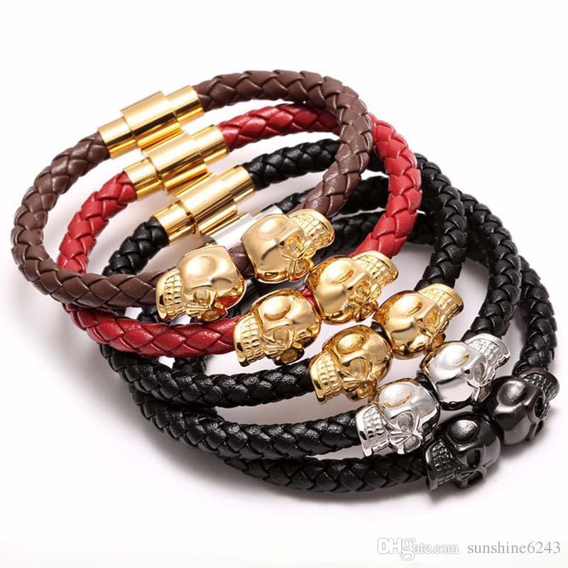 Black Genuine Leather Braided Northskull Bracelet Men Stainless Steel For Women Gold North skull Bangle for women men