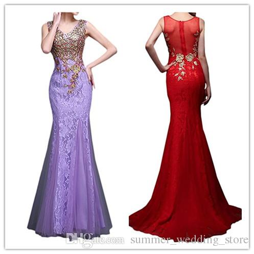Robe De Soiree 2018 Mermaid V Neck Tulle Appliques Lace Black Red ...