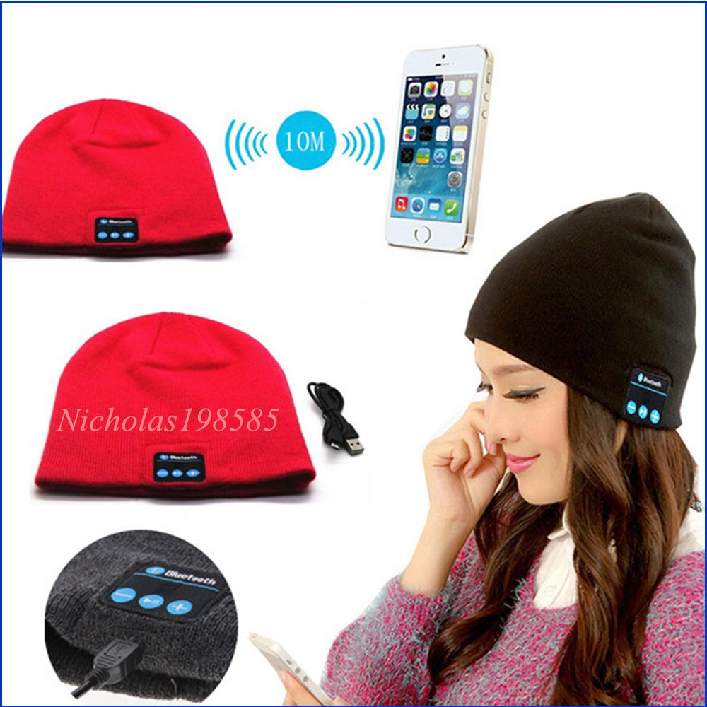 e021e04d036 To Hot Men Women Soft Winter Beanie Hats Wireless Bluetooth Smart Cap  Headphone Headset Speaker Mic Headgear Knitted Cap More Colour Skull Cap  Beanie Boo ...