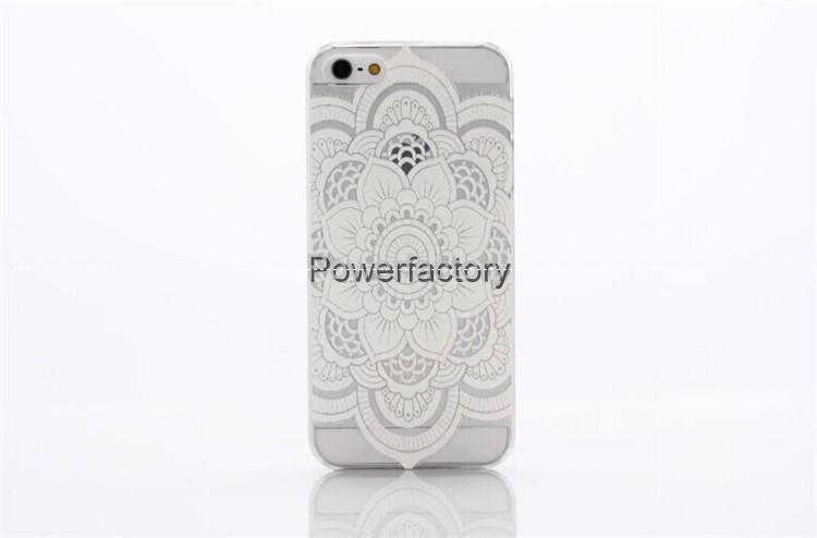 Clear Matte Hard Plastic PC Case back Cover for Iphone 6 6 Plus 5S 5C 4S Henna White Floral Paisley Flower Mandala case