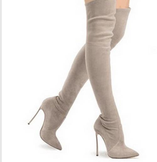 Designer Brand Sexy Pointed Toe High Heel Thigh High Boots Genuine ...