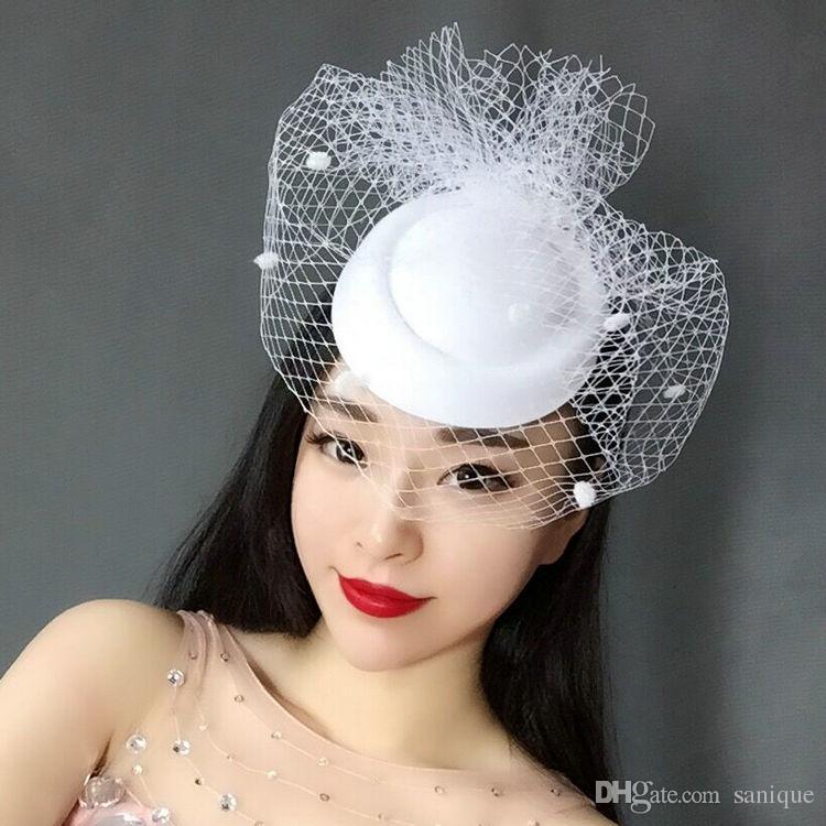 2018 New Hottest Vintage Chapéus Perfeito Headcage Headcage Branco Preto Net Nupcial Do Casamento Do Chapéu Do Pássaro Da Gaiola Véus