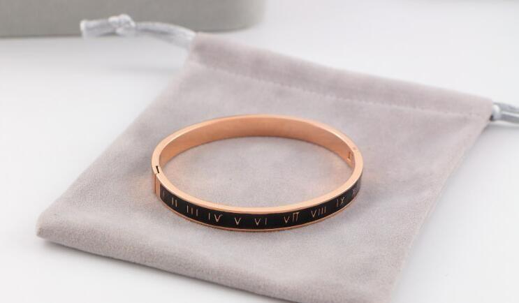 New 18K rose gold Roman numerals black bracelet women Korean fashion couple bracelet