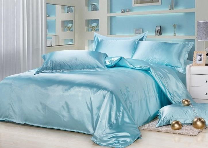 Aqua Blue Silk Bedding Sets Satin Sheets California King Queen Full Twin  Size Duvet Cover Bedsheet Fitted Bed In A Bag Quilt Linen Extra Long Twin  Bedding ...