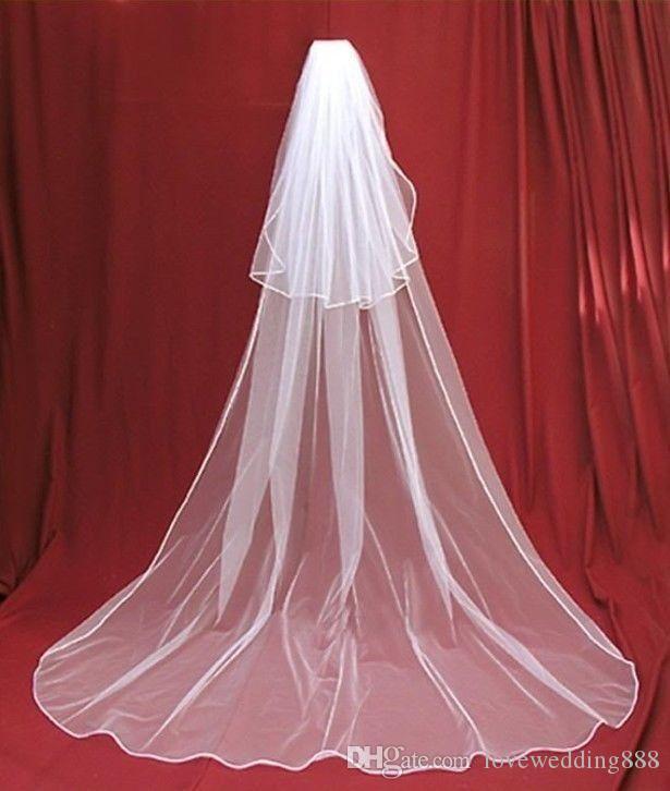 Простой собор длина свадебная фата с гребнем 2 слоя мягкий тюль дешевые фаты свадебные аксессуары свадебные фаты для свадьбы
