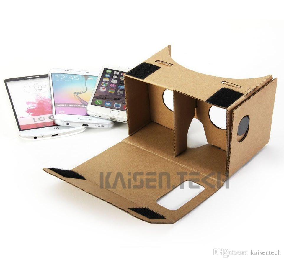 Google Cardboard DIY Kit Virtual Reality Viewer 3D Cardboard Glasses for iPhone 6s 6 plus Samsung s6 s5 note5 3D VR glasses 5