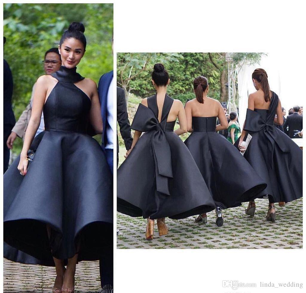 2017 Black Elegant Bridesmaid Dress Cheap Halter Satin Garden Arabic Formal  Wedding Party Guest Maid Of Honor Gown Plus Size Custom Made Lime Green ... 7abc5115828c