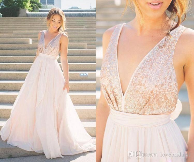 0f9367ab 2017 Modern Sheer Rose Gold Sequins Bridesmaids Dress Blush Pink Tulle  Backless A Line V Neck Sash Bow Sexy Beach Summer Bridal Gowns Autumn  Bridesmaid ...
