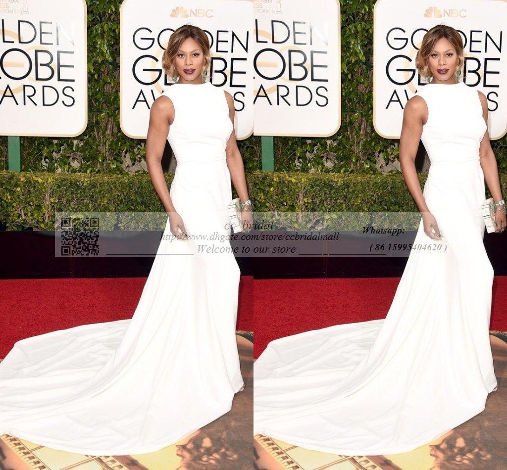 2016 Golden Globe Award Laverne Cox Celebrity Dresses Sexy O Cap Sleeve White Evening Gowns abiti da cerimonia da sera Red Carpet Dress