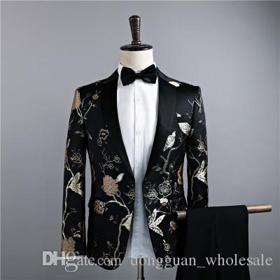 Compre Chaquetas + Pantalones Trajes De Lujo Para Hombres Novio Vestido De  Padrino De Boda Pantalones De Traje De Negocios Boda Hombres Verano Slim Fit  Prom ... 280044ee8681