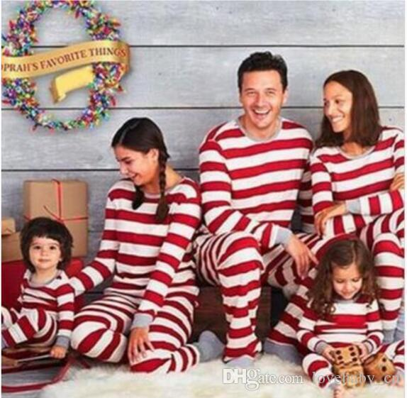 matching family christmas pajamas striped nightwear baby kid adult clothes xmas striped mama papa kids clothing romper 2 piece outfit gift family matching - Cheap Family Christmas Pajamas