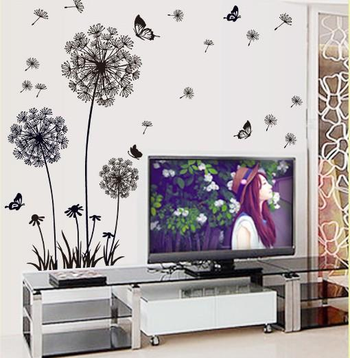 Art Mural Wall Decals Removable Dandelion Flower Wall Decoration - Wall decals in pakistanblack flowers removable wall stickers wall decals mural home art
