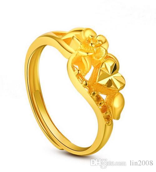 больше стиль сердце цветок желтые обручальные кольца для женщин, 24K позолоченные жениться невесты партия ювелирных изделий аксессуары