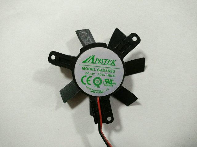 Originele Apistek GA51S2U 12V 0.25A 5 cm Pitch 39mm Diameter 46mm grafische kaart Koelventilator