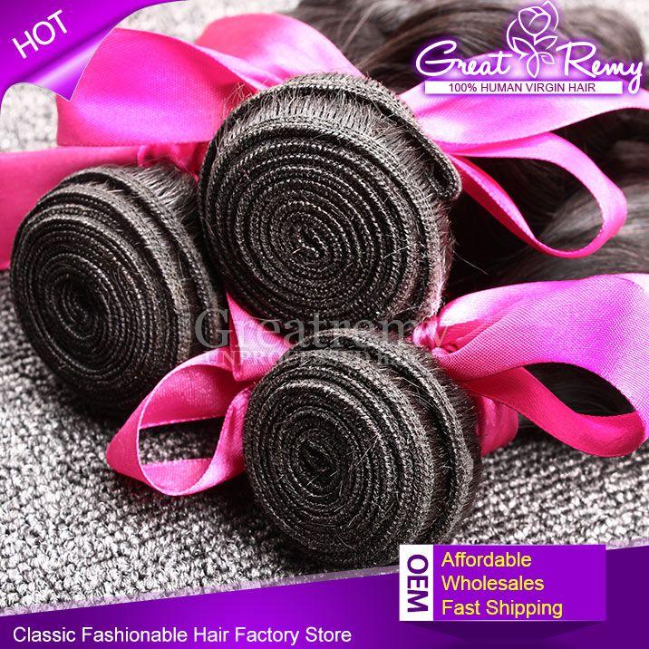 100% Maleisische haarbundel 3 stks / partij Remy Menselijk Haar Weave Onverwerkte Golvend Losse Wave Natuurlijke Kleur Dyable Hair Extension Greatremy