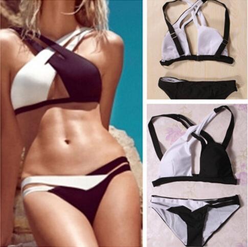 2844710484 2019 Sexy Women Plus Size Bikini Set Contrast Color Cross Strap Swimsuits  Push Up Padded Swimwear Beachwear Hit Color Swimsuits Bikini GS004 From  Infine