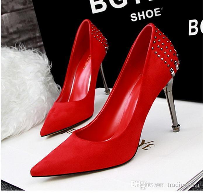 6eaefe55101917 European Fashion Red Nieten Spitz Hochzeit Schuhe Sexy High Heels Damen  Pumps Größe 34 bis 39