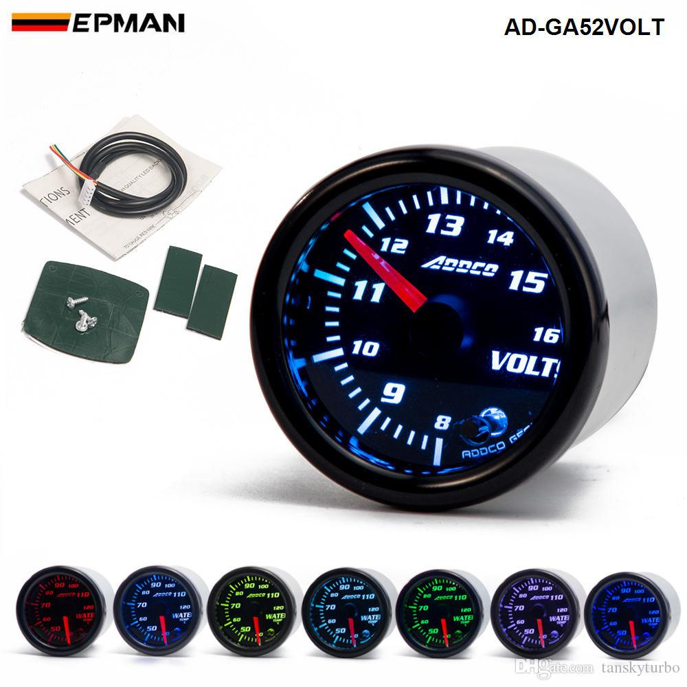 "2"" 52mm 7 Color LED Smoke Face Voltmeter Volt Gauger With Sensor Car meter Auto Gauge AD-GA52VOLT"