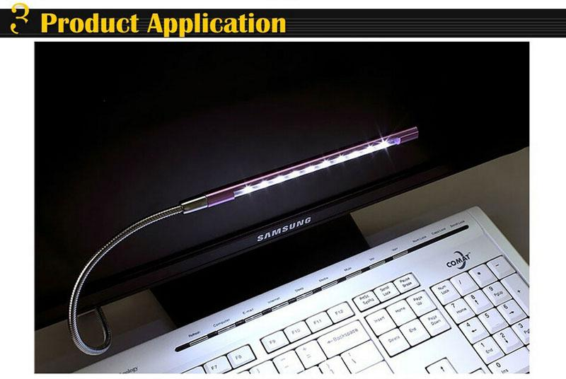 Super bright Metal Material USB LED light lamp 10LEDs flexible variety of colors for Notebook Laptop PC Computer CE RoHS Certificate