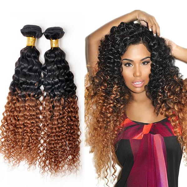 Brazilian Ombre Kinky Curly Hair Extensiont1b30 2 Toned Ombre