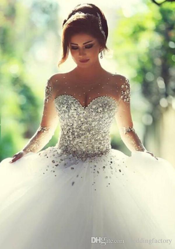 Prestiżowe kryształy suknie ślubne z długim rękawami gorset suknie ślubne z sheer załogi zroszony z koralikami Soft Tulle Arabski Plus Size Soads