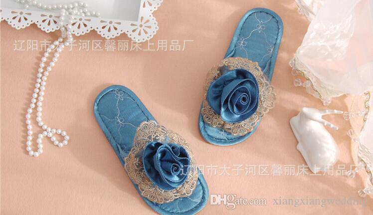 Zapatillas de piso Lovers Indoor Slipper Four Seasons general Arte de flores Hogar Silencioso Transpirable Suave Encaje Suelos sólidos