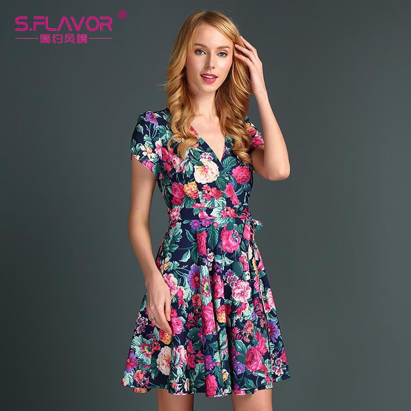 10ff0771c18 S.FLAVOR Brand Women Summer Mini Dress 2017 New Fashion Short Sleeve ...