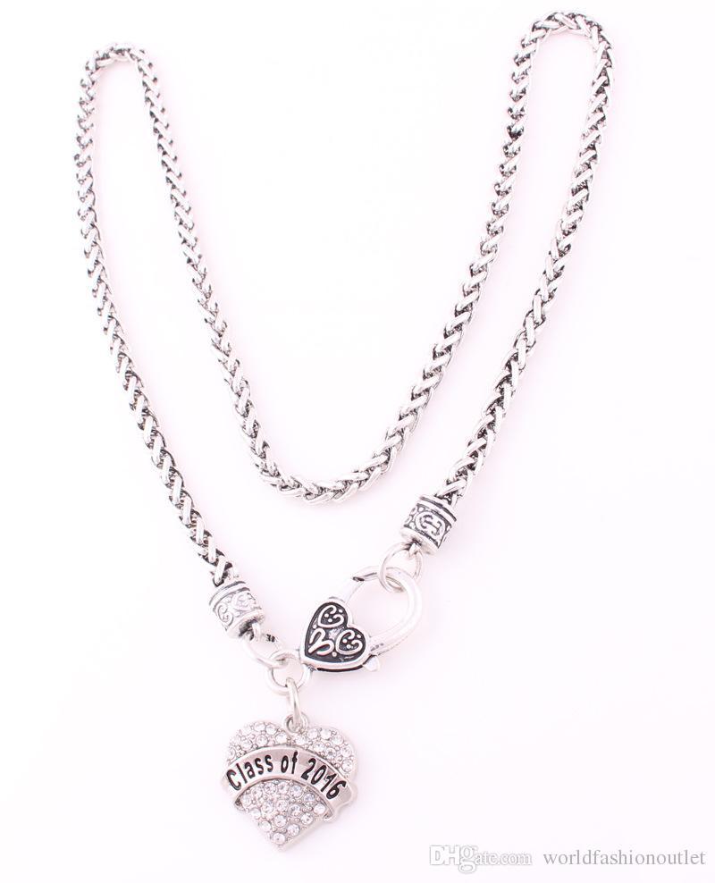 졸업식 크리스탈 하트 실버 체인 목걸이 쥬얼리 수석 선물 반짝 이는 사랑의 하트 클래스 2016 펜던트 목걸이 BSK Jewellry 무료 DHL