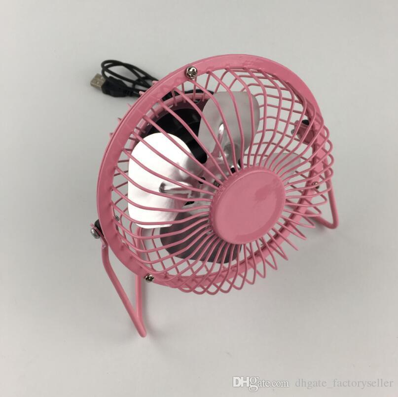 جودة عالية 360 تدوير معدن USB مروحة البسيطة المحمولة الملونة الصيف الرئيسية مكتب مكتب مروحة كهربائية التبريد