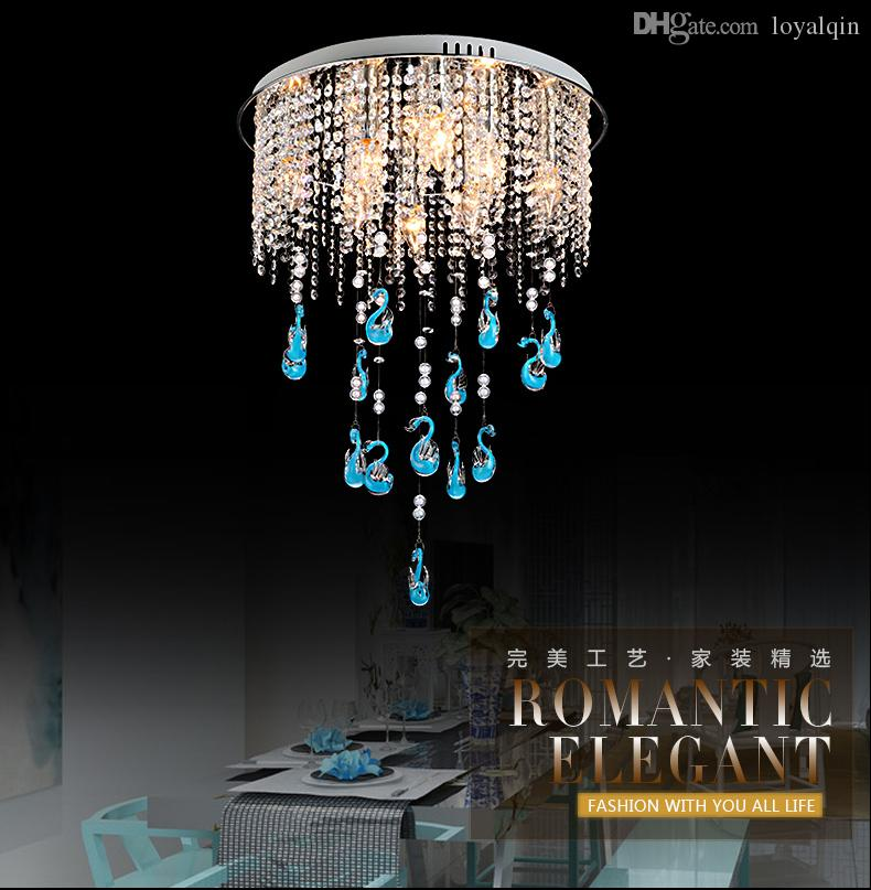 New modern small swan LED chandelier pendant light, indoor decorated crystal ceiling lamp, with intelligent remote control