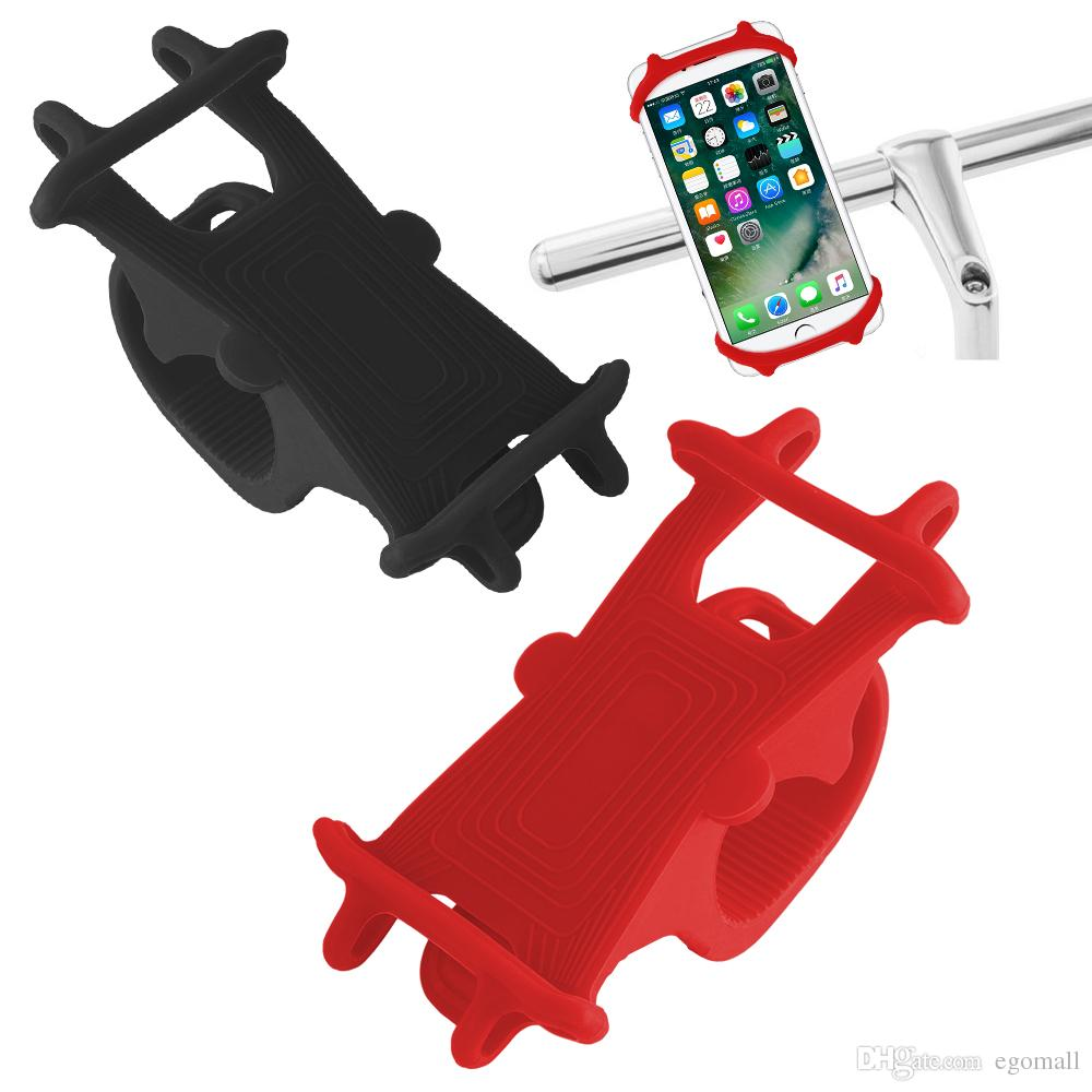 Bike Cell Phone Mount Motorcycle Handlebar Cellphone Holder Car Bicycle Silicone Cradle Clamp for iPhone 7 Samsung S7 Universal Smartphon