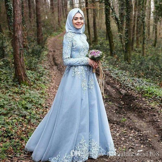 Ihram Kids For Sale Dubai: Lace Long Sleeve Light Blue African Dubai Muslim Hijab