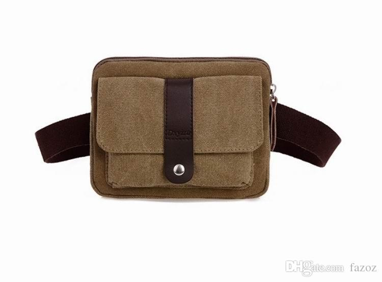 Casual Multi Function Vintage Square Men Canvas Waist Belt Bag Leisure Fanny Pack Male Bum Bags Market Trader Waist Money Bag for Phone