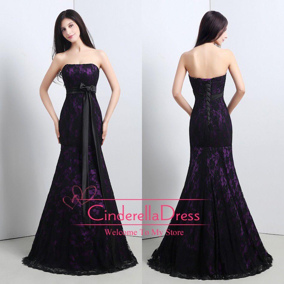 Black and purple mermaid wedding dress